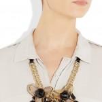 Marni: Collar con perlas negras de resina
