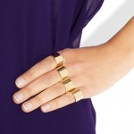 Maison Martin Margiela: Conjunto de anillos chapado en oro de 22 quilates