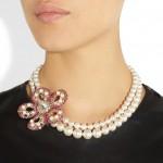 Miu Miu: Collar con perlas y cristales swarovski