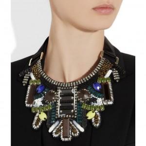 Etro: Collar babero embellecido con perlas y cristales