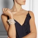 Lanvin: Pulsera con perlas y cristales swarovski 'Gloria'